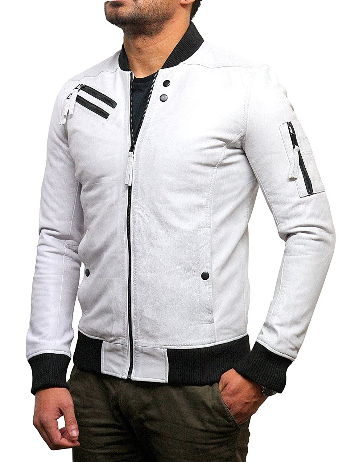 Brandslock Mens Genuine Leather Bomber Jacket Varisty Waxed Sheepskin at Amazon Mens Clothing store: