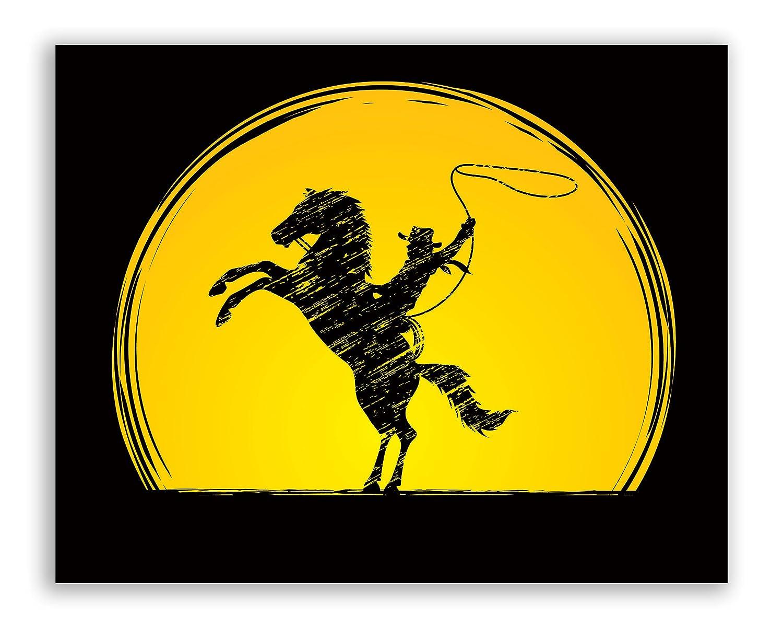 Cowboy Rodeo Art Prints Set of Four Horseback Silhouette Bull Riding Decor Wall Decor 8x10