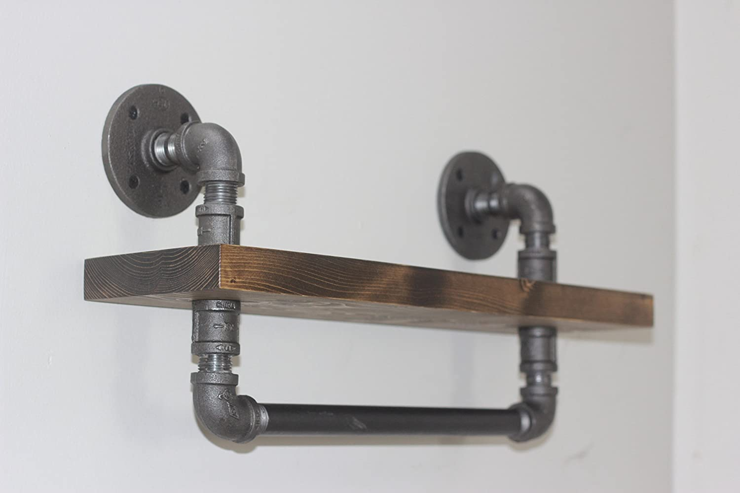 Industrial Style Bathroom Shelf With Towel Bar, Rustic DIY Shelves with Towel Rack, Ships from Detroit, MI