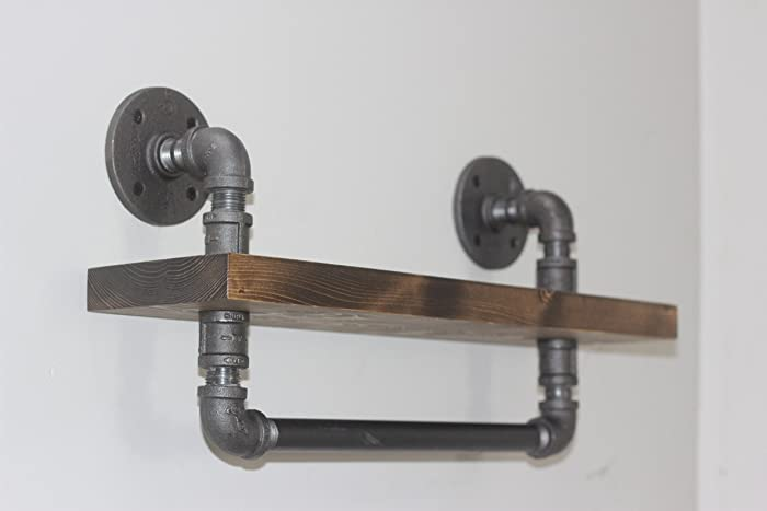 Amazon Com Industrial Style Bathroom Shelf With Towel Bar Rustic