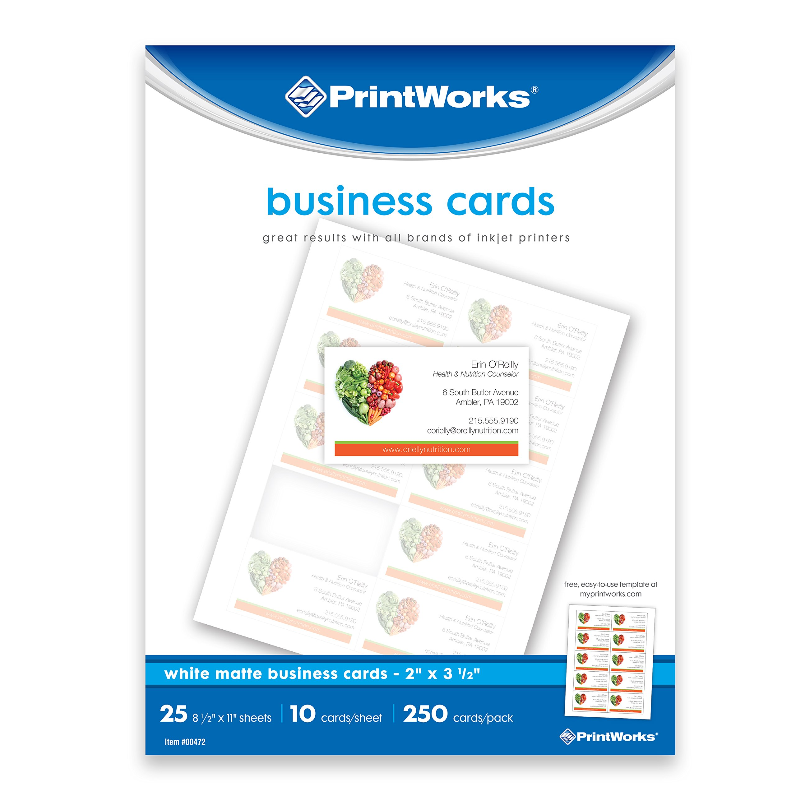Business card amazon printworks matte white business cards 250 count 00472 reheart Choice Image