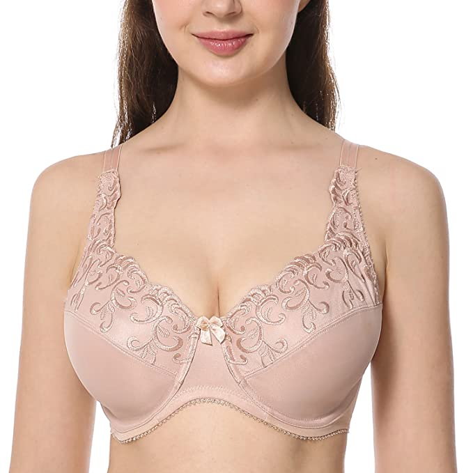 db440983fd822 DELIMIRA Women s Full Coverage Underwire Floral Embroidered Minimizer Bra  Beige 34DD