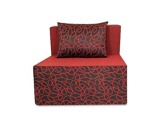 Adorn India Easy Three Seater Sofa Cum Bed Poly Cotton (Maroon & Black) 5'X6' (3 x 6)
