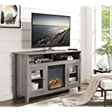 """WE Furniture 58"""" Wood Highboy Fireplace Media TV Stand Console, Driftwood"""