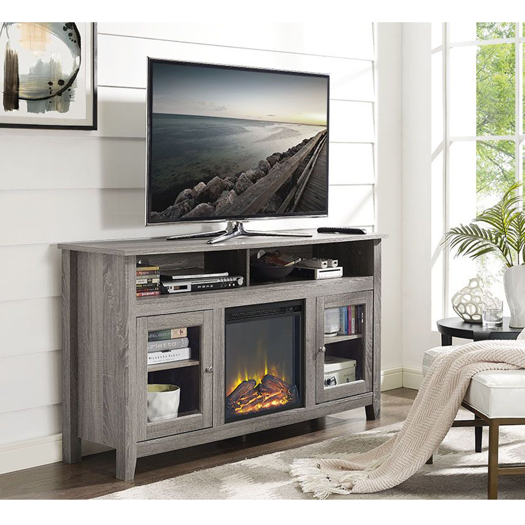 WE Furniture 58'' Wood Highboy Fireplace Media TV Stand Console, Driftwood