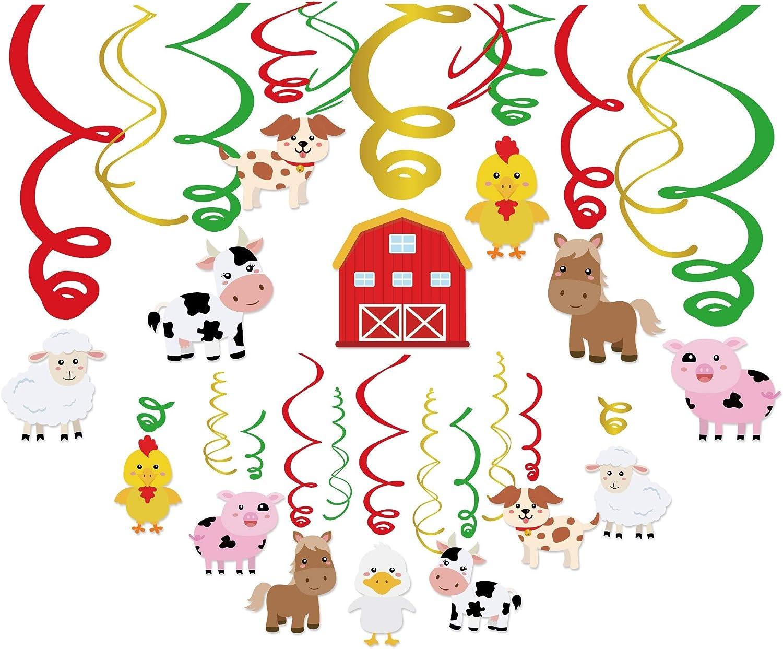 Kristin Paradise 30Ct Farm Animal Hanging Swirl Decorations, Barnyard Party Supplies, Barn Yard Birthday Theme, Petting Zoo Farmhouse Kids Decor First 1st Boys Girls Baby Shower, Sheep Cow Bday Favors