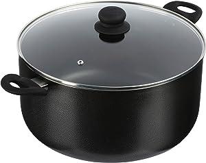 IMUSA USA IMU-91637 Cookware 12.7Qt Charcoal Stock Pot w/Gl, 12.7-Quart, Black
