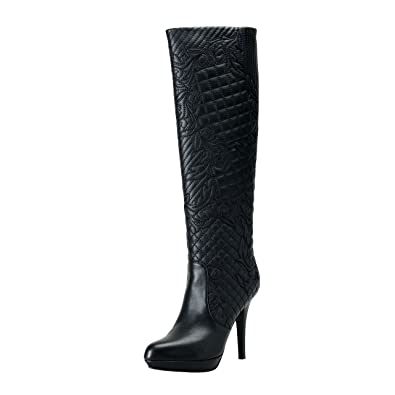 c76100186898 Amazon.com | Versace Women's Black Quilted Leather High Heel Boots Shoes SZ  US 9.5 IT 39.5 | Knee-High