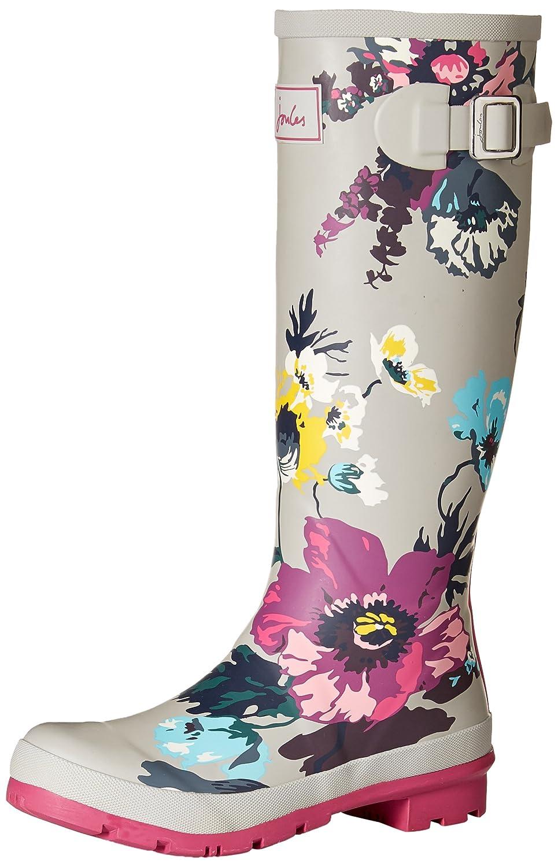 Joules Women's Welly Print Rain Boot B06XGP8Q49 8 B(M) US|Silver Posy