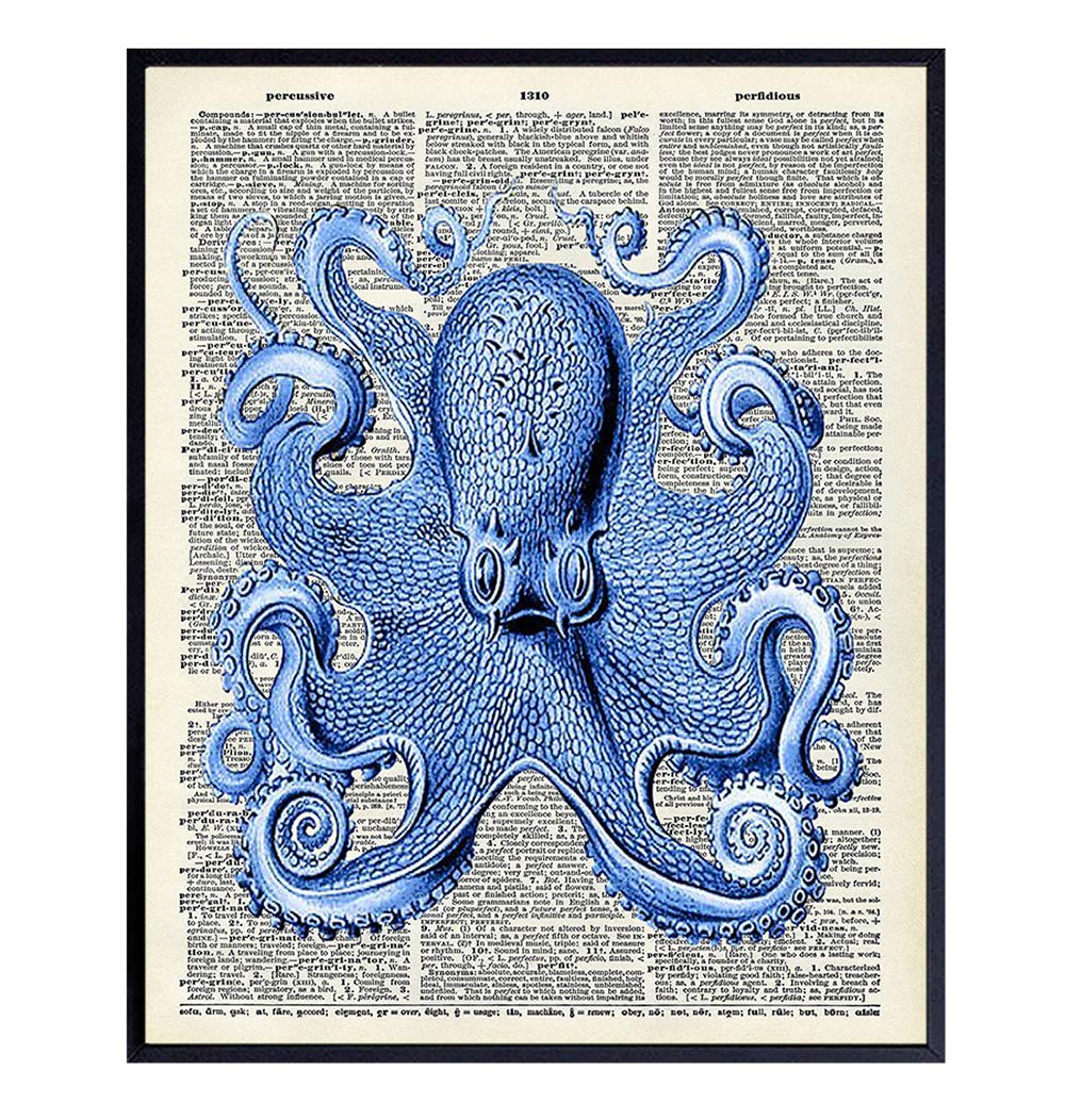 Vintage Octopus Dictionary Wall Decor Picture - Upcycled Retro Decoration for Home, Office or Apartment, Bedroom, Living Room, Bathroom, Bath - Gift for Ocean, Nautical Fans - 8x10 Poster Print