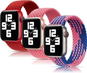 Girovo 3 Packs Solo Loop Strap Compatible with Braided Sport Apple Watch Band 42mm 44mm, Soft Stretchy Braided Wristband for iWatch Series 1/2/3/4/5/6/SE, Pink/Red/Blue Powder, M