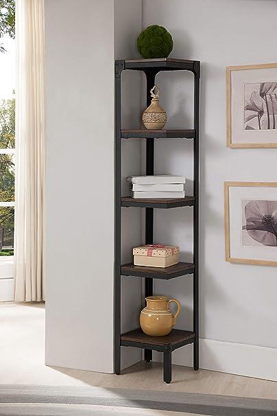 Metal madera envejecido nogal 4 estantería esquinera estante de almacenamiento organizador de estantería