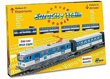 Servicios E Industrias Del Juguete 66-690 - Tren Eurocity Metalico con Luz Puente Y Desvios