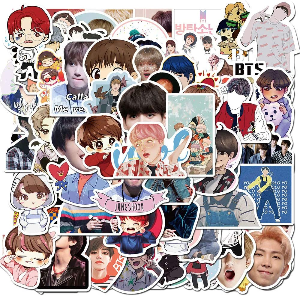 76Pcs Pop Singer BTS Stickers Kpop Bangtan Boys Stickers Water Bottles Laptop Car Hydroflasks Phone Motorcycle Guitar Skateboard Computer Vinyl Sticker Waterproof Decals for Teens Boys Girls Adults
