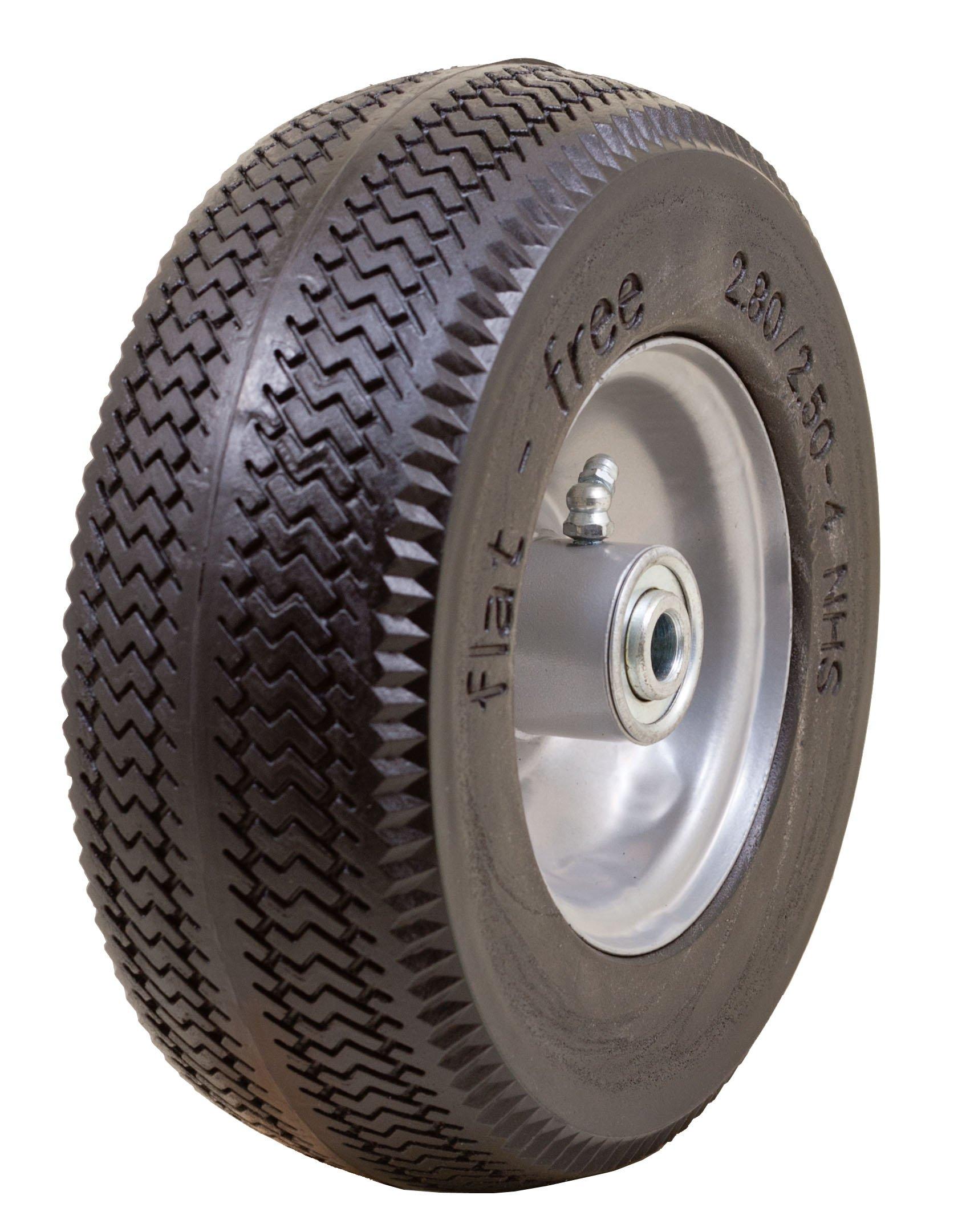 Marathon 2.80/2.50-4'' Flat Free Hand Truck/Utility Cart Tire on Wheel, 3''Centered Hub, 1/2'' Bearings