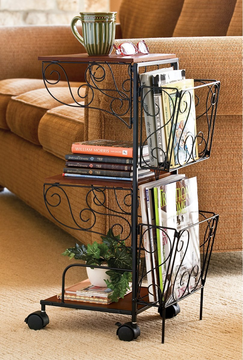 Amazon.com: 3 Tier Rolling Magazine End Table With Storage   Magazine  Holder Organizer Rack   Coffee Table   Use Next To Couch Or Many Other  Uses: Home U0026 ...