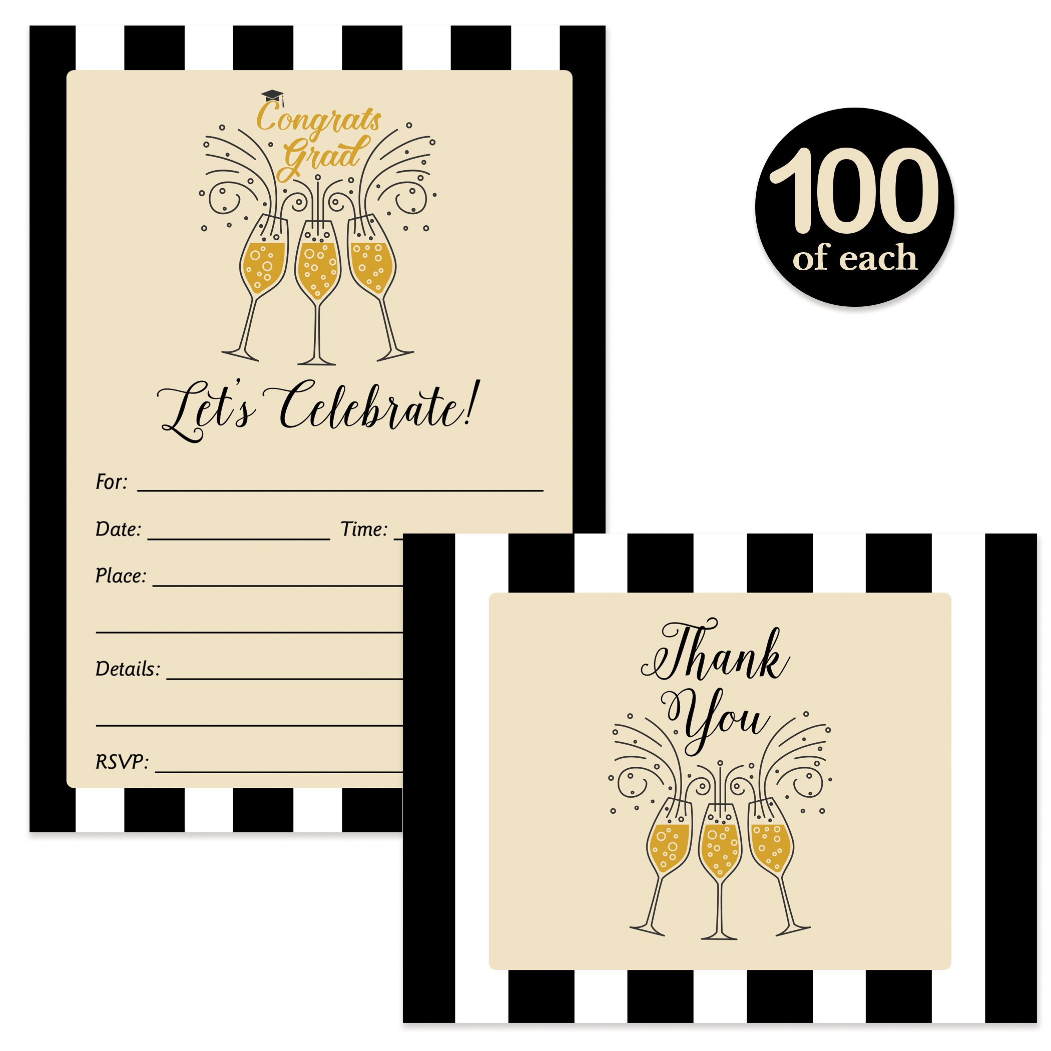 Graduation Invitations and Thank You Notes ( 100 of Each ) with Envelopes Champagne Bubbly Matching Set Folded Blank Thank You Cards Fill-In Party Invites College High School Grad Excellent Value Pair by Digibuddha
