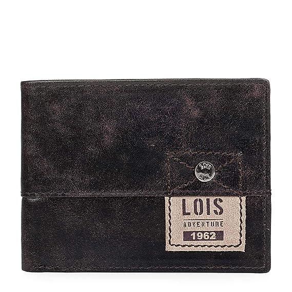 Lois - 12501 Cartera Monedero Billetero Tarjetero Hombre de Cuero Piel Genuina. Porta Monedas con 2 Compartimentos para Billetes y 9 para Tarjetas y ...