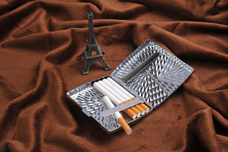 KC2-13 Mod mit Rautenmuster f/ür 18 Zigaretten Quantum Abacus Zigarettenetui aus hochwertigem Stahl DE
