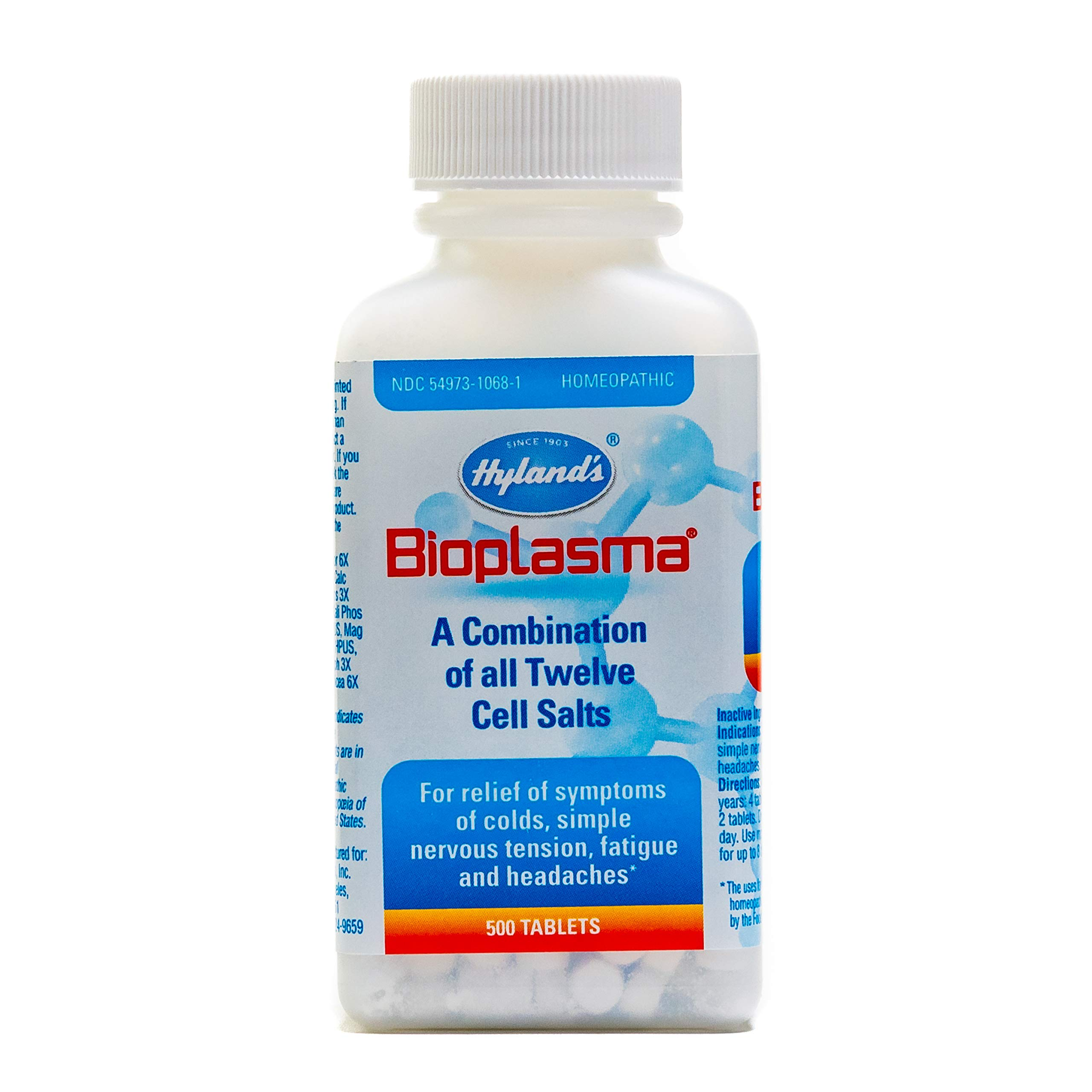 Hyland's Bioplasma Cell Salts Tablets, Natural Homeopathic Combination of Cell Salts Vital to Cellular Function, Balance Electrolytes, 500 Count, White