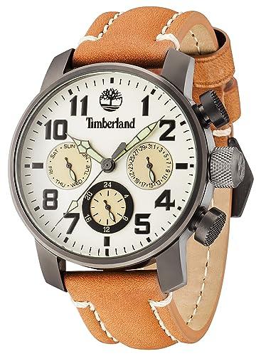 Timberland Mascoma II - Reloj de Hombre de Cuarzo Beige con Esfera analógica Pantalla y Correa de Cuero marrón Oscuro 14783jsu/14: Timberland: Amazon.es: ...