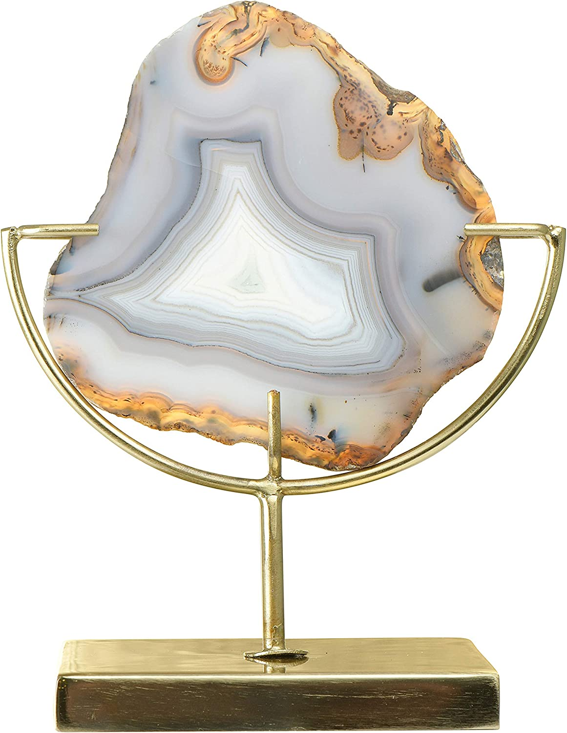 "Main + Mesa Agate Geode Shelf Crystal on Metal Stand, 6.75"" x 4"", Natural Brown"