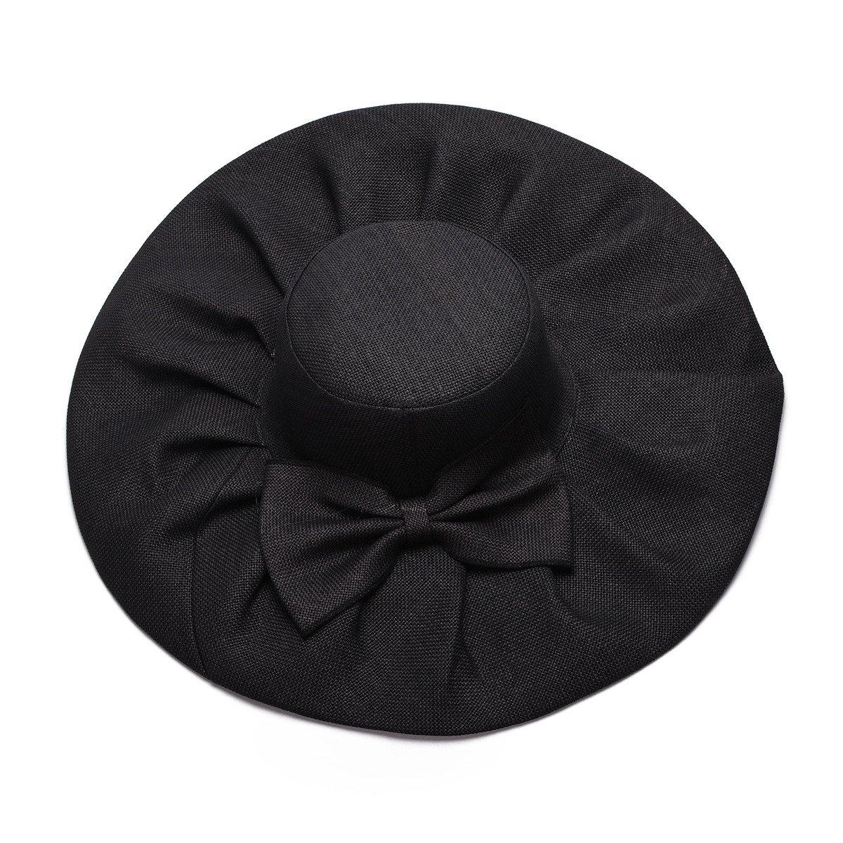 Linen Summer Womens Kentucky Derby Wide Brim Sun Hat Wedding Church Sea Beach A047 (Black)