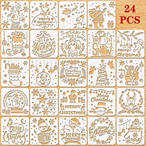 Konsait 24Pack Christmas Stencils Templates, Reusable Plastic Painting DIY Crafts Templates, Xmas Christmas Stencils for Spraying, Greeting Card, Scrapbook, Notebook, Glass, Face Cookie Home Decor