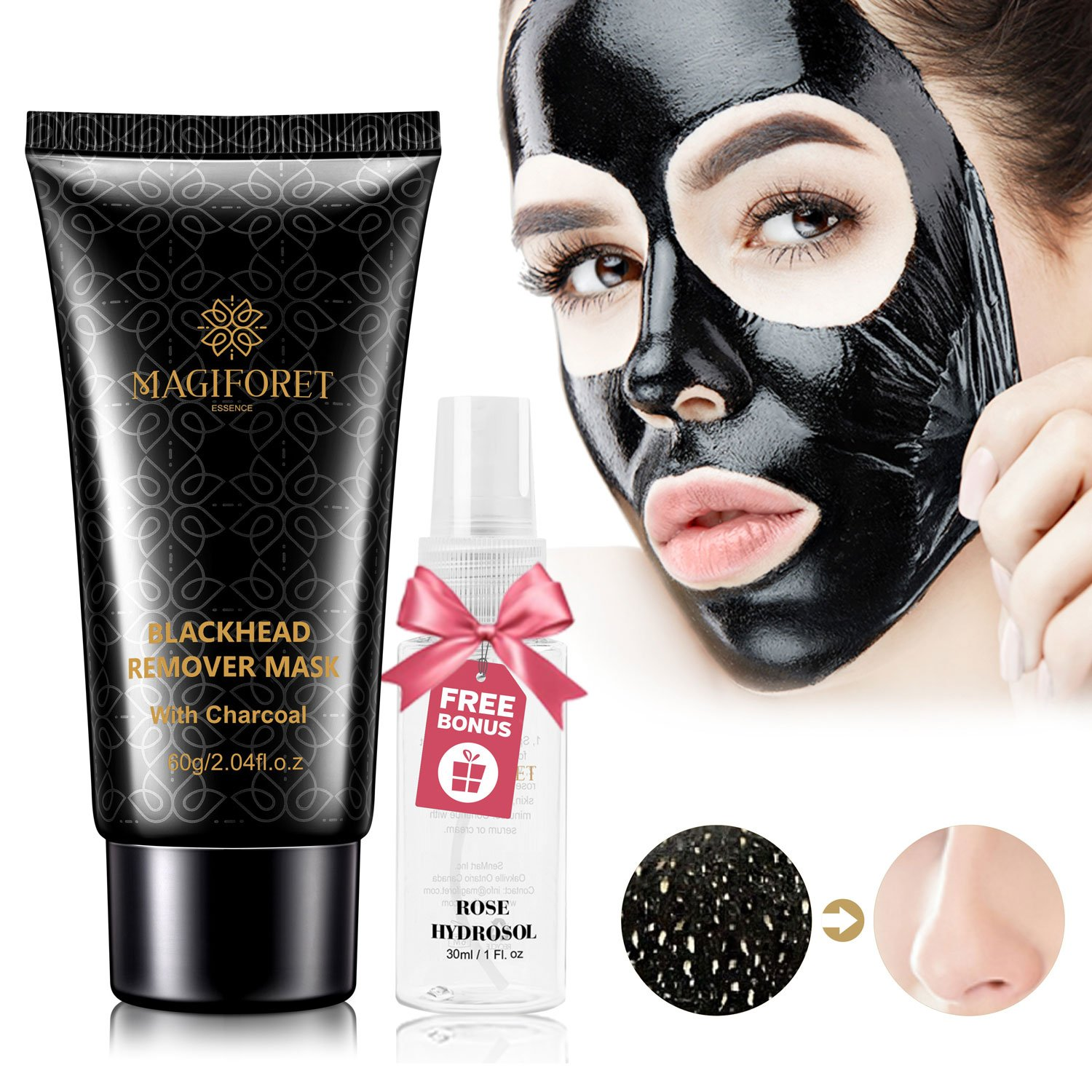 Black Mask, Charcoal Peel Off Mask, Off Mask, Blackhead Remover Mask, MagiForet Purifying Peel-off Mask Deep Cleansing Activated Charcoal Face Mask Treatment Oil Control 60g Rosewater Spray 30ml