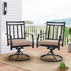 PHI VILLA Swivel Chairs Set of 2 Patio Dining Rocker Chair with Cushion Rocking Patio Furniture for Garden Backyard Bistro, Black
