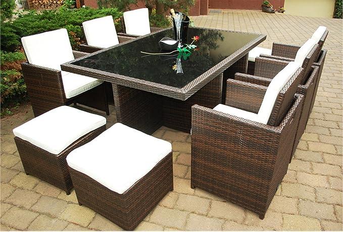 Ragnarök-Möbeldesign PolyRattan Set DEUTSCHE MARKE - EIGNENE PRODUKTION 7 Jahre GARANTIE Garten Möbel incl. Glas und Polster