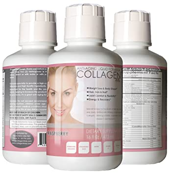 Premium Liquid Collagen Peptides,16Oz Best Value, Anti-Aging Formula, Grass-