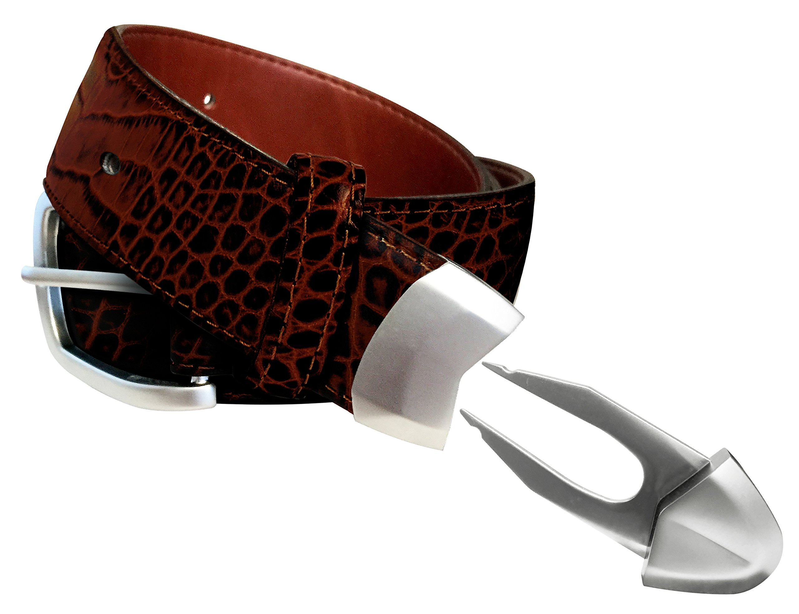 Leather Golf belt, built-in divot tool and ball marker in tip, KenRick Golf, Brown Croc, size 38''