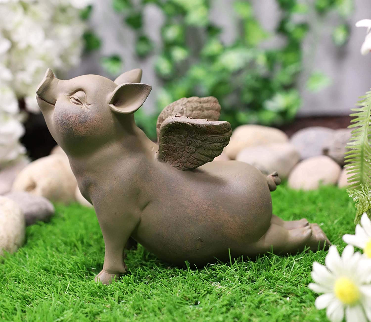 Ebros Peaceful Zen Yoga Flying Pig Hog Heavens Statue Rustic Country Piggy Piglet Porcine Pigs Fairy Garden Collectible Figurine (Cobra Stretch Pose)