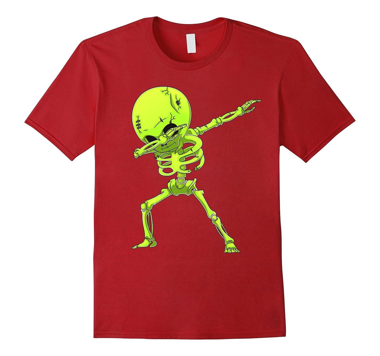 Dabbing Skeleton Halloween Neon Zombie Dab Dance T Shirt-TJ