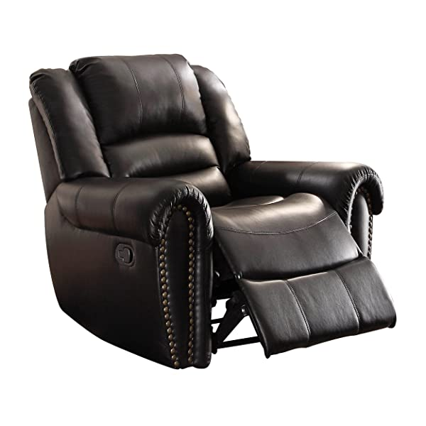 Homelegance 9668BLK-1 Glider Reclining Chair, Black Bonded Leather