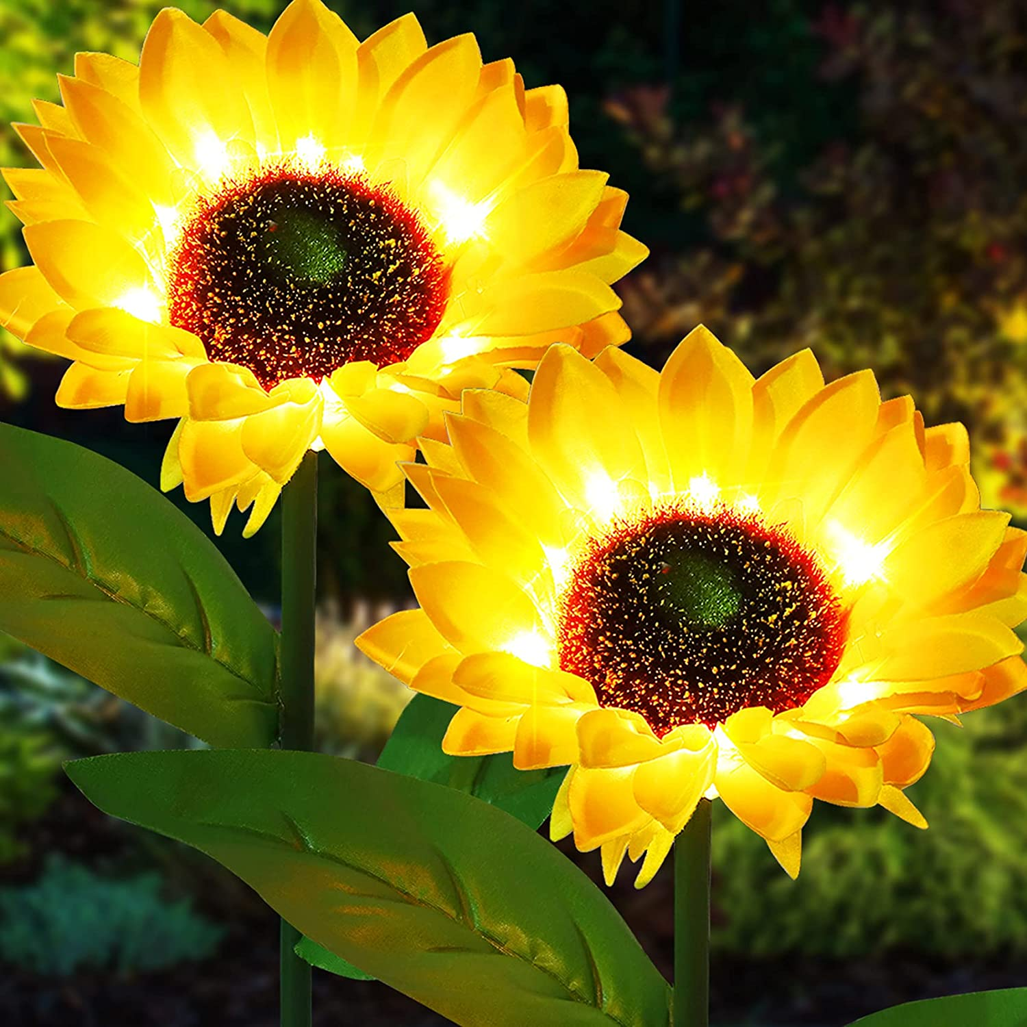 2 Pack Garden Solar Lights, Outdoor Realistic Sunflower Lights Flower Stake, LED Solar Powered Lights for Patio Lawn Garden Yard Pathway Landscape Decoration (Yellow)