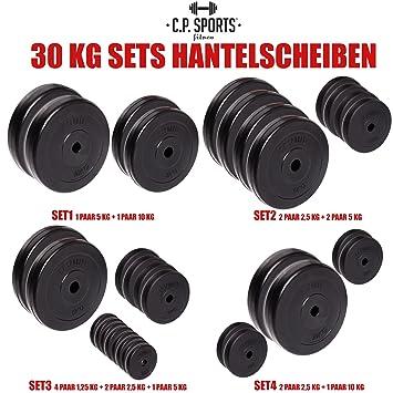 C.P. Sports - Juego de pesas de 30kg, distintos discos, 30