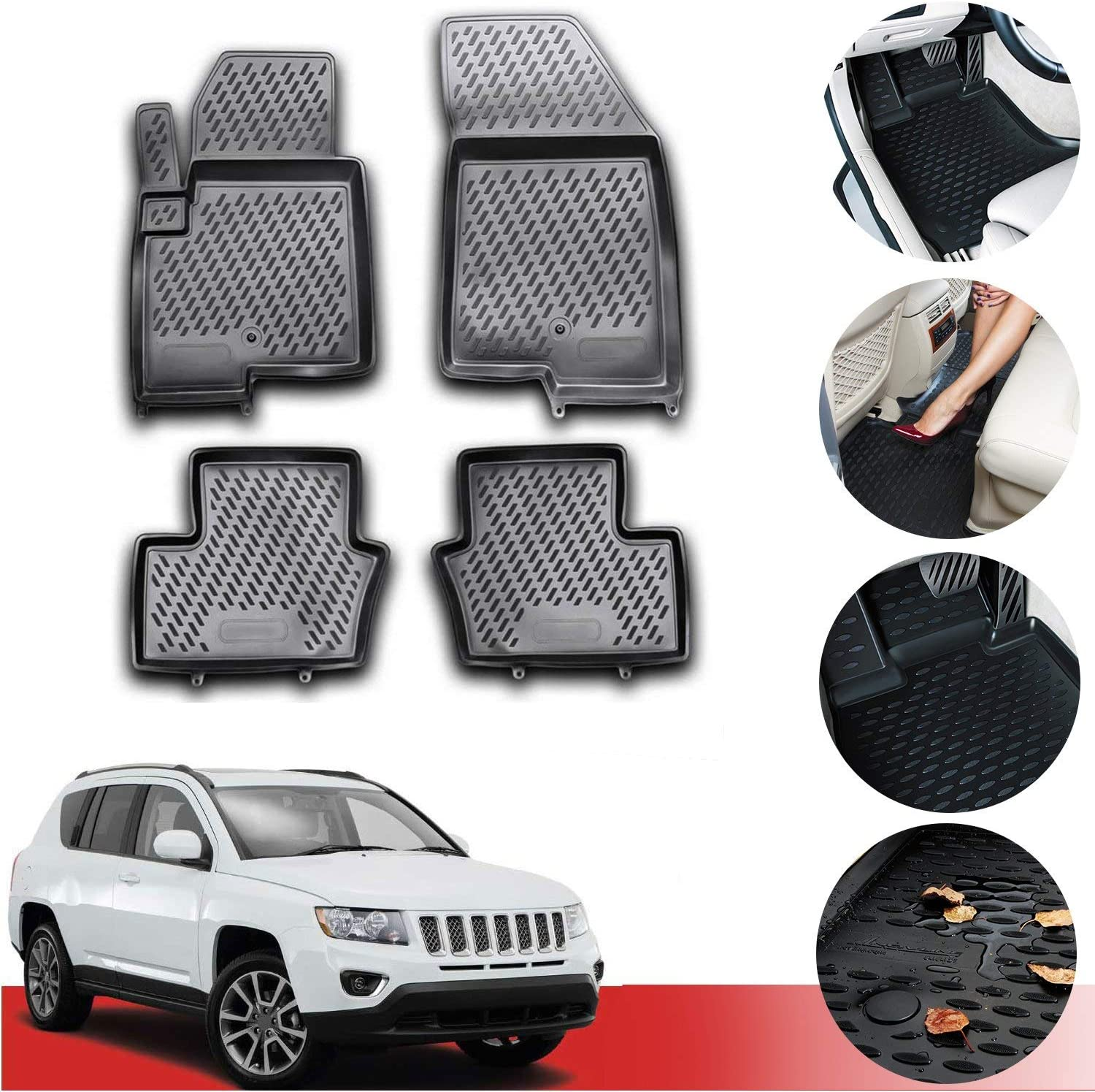 Custom Car Floor Mats for Toyota Corolla 2007-2013 All Weather Waterproof Non-Slip Full Covered Protection Advanced Performance Liners Car Liner Beige