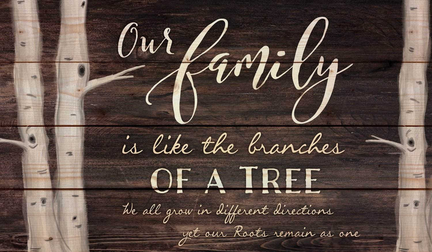 Our Family Tree Dark Distressed 24 x 14 Inch Solid Pine Wood Pallet Wall Plaque Sign