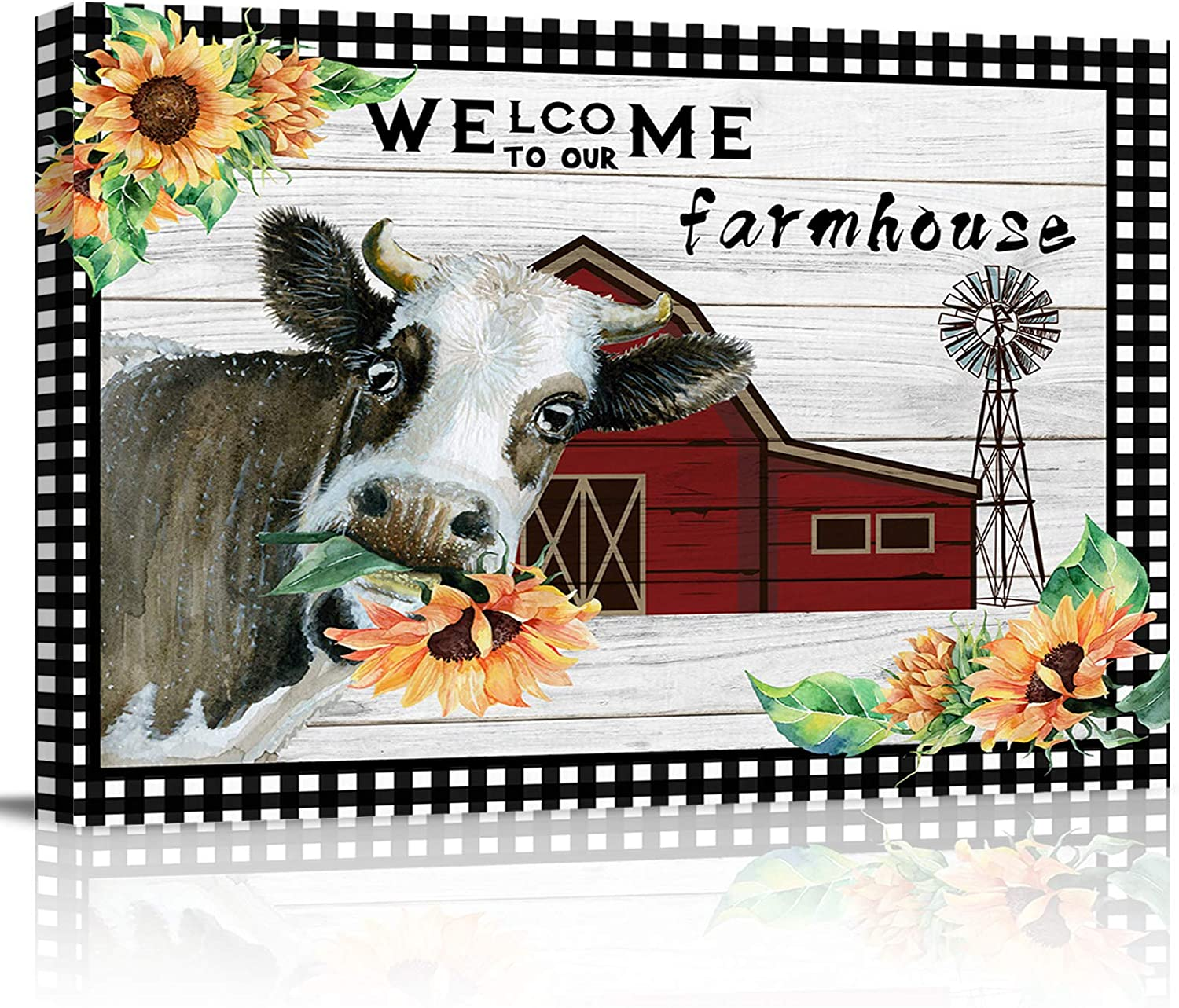 LooPoP Art Print on Canvas Pictures for Bedroom Farm Cow Wall Decor Canvas Posters for Boys Nursery Decor No Frame Sunflower Rustic Barn Wood Country Style Farmhouse 12x16 inch