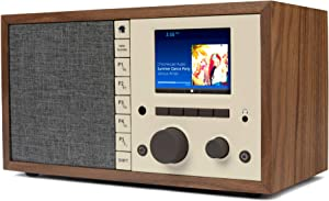 Grace Digital Mondo Elite Classic Smart Internet Radio Bluetooth Wi-Fi Qi-Wireless Fast Charger 7-Day Alarm – Microphone-Free (Walnut)