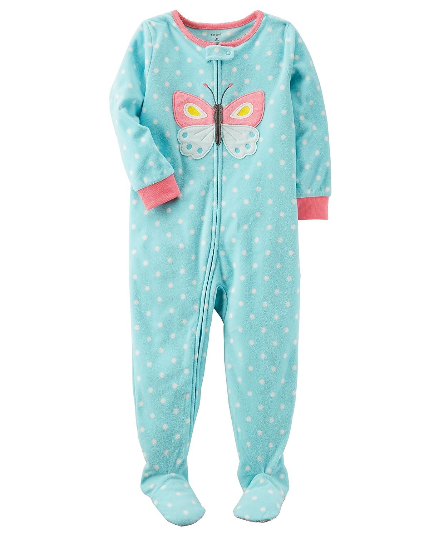 Carter's Schlafanzug Fleece 98/104 Einteiler Mädchen girl warm Weich Winter Reißverschluss US size 4 t Hellblau/Rosa) 357G291