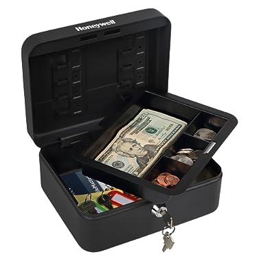 Honeywell Safes & Door Locks - 6111 Convertible Steel Cash and Security Box with Key Lock, Black