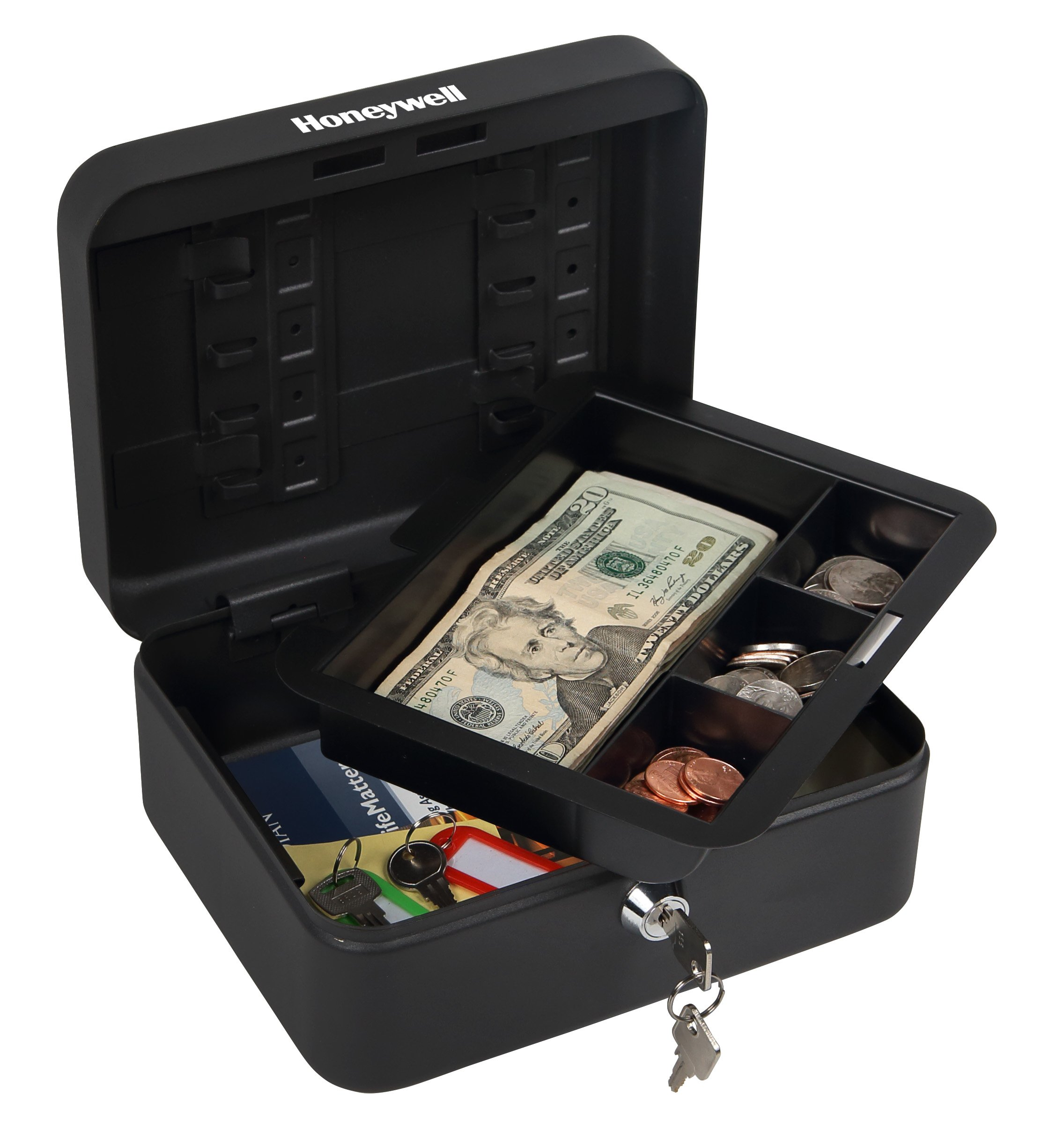 HONEYWELL - 6111 Convertible Steel Cash and Security Box with Key Lock, Black