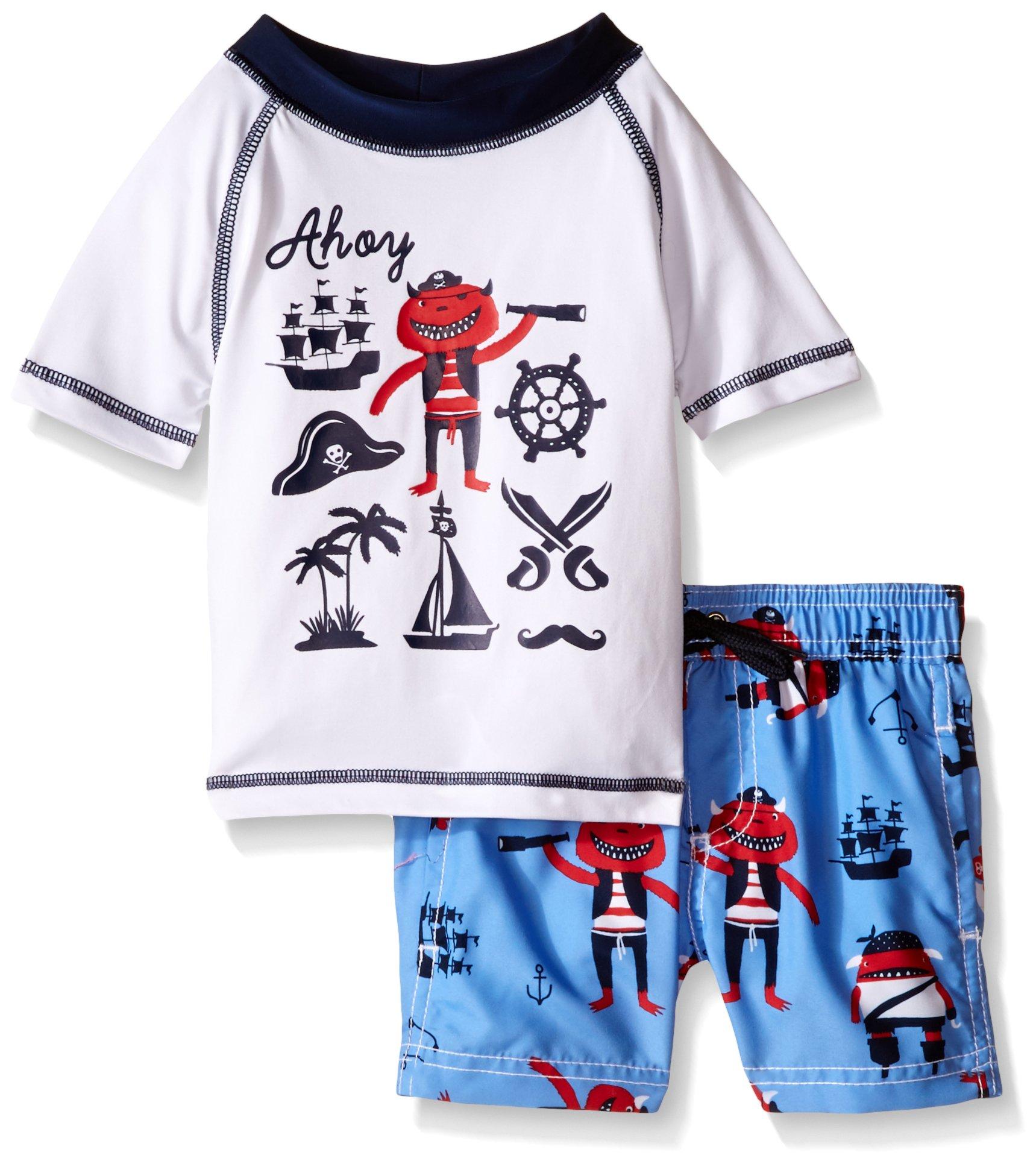 Wippette Boys Short Sleeve Rashguard Set with Hat Rash Guard Set