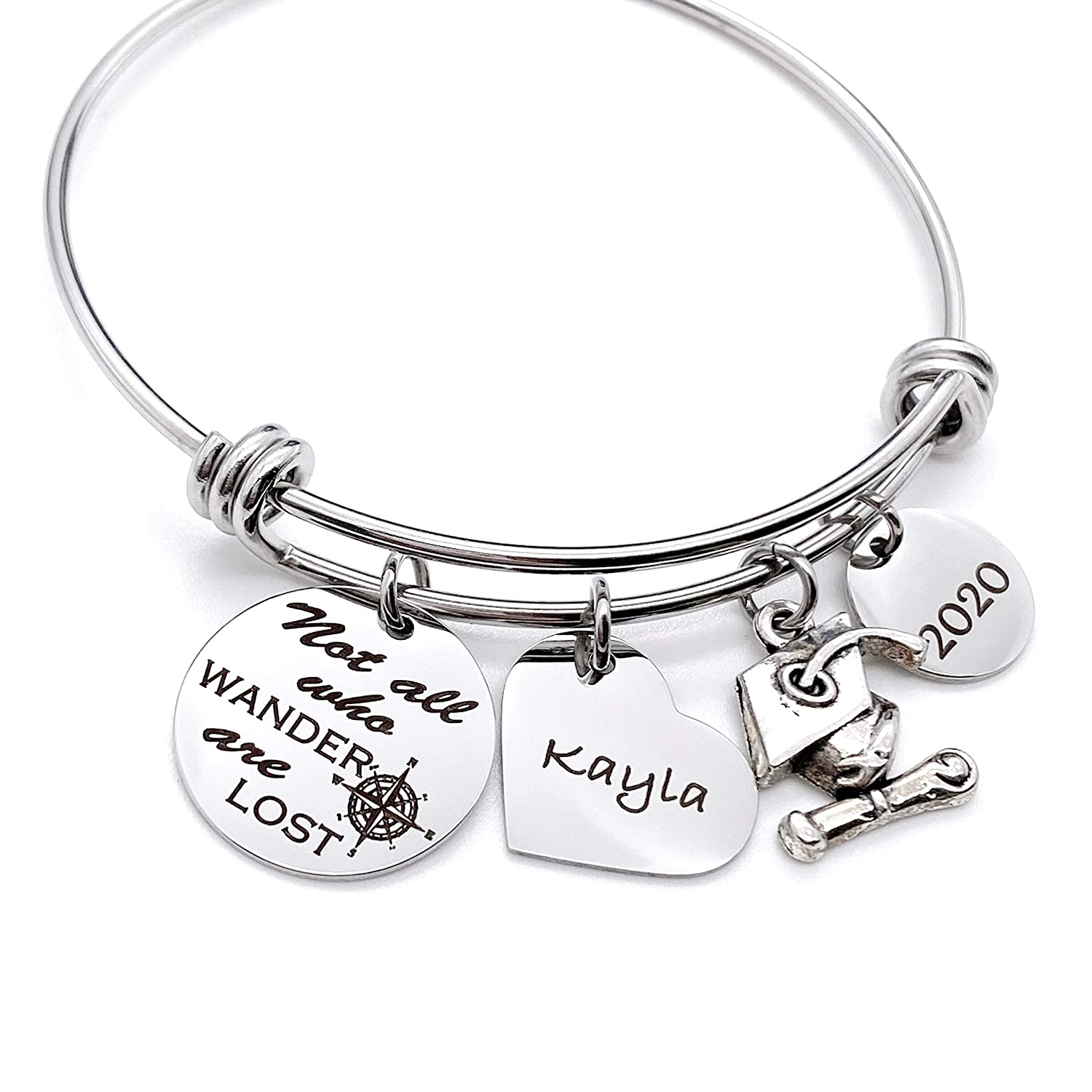 """Engraved Silver Compass Graduation Bangle Charm Bracelet Personalized Gift for Her /""""Not all who wander are lost"""