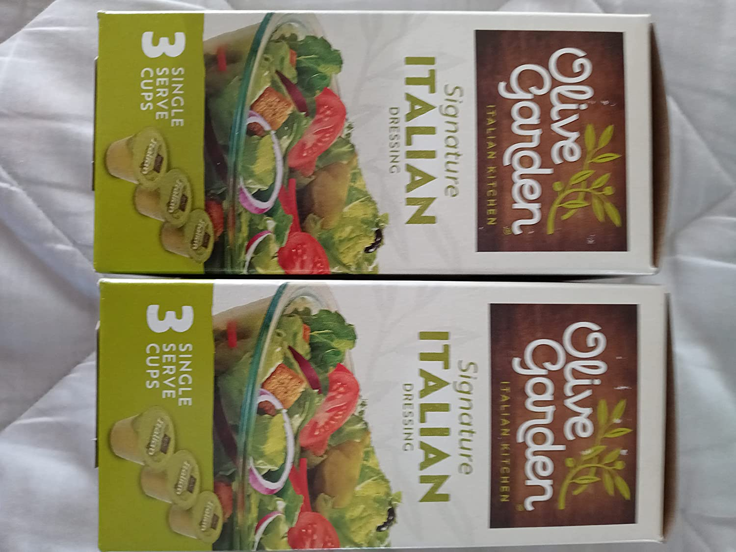 2 Boxes of Olive Garden Signature Italian Salad Dressing 3 Single-Serve Cups (6 1.7oz cups total)