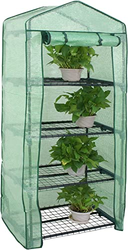 Nova Microdermabrasion Mini Greenhouse 4 Tier Indoor Outdoor with PE Cover and Roll-Up Zipper Door, Portable Waterproof Cloth Greenhouse Tent Grow Seeds Seedlings, 27.25L X 19W x 63H Inches,