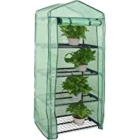 Nova Microdermabrasion Mini Greenhouse 4 Tier Indoor Outdoor with PE Cover and Roll-Up Zipper Door, Portable Waterproof Cloth Greenhouse Tent Grow Seeds & Seedlings, 27.25L X 19W x 63H Inches,